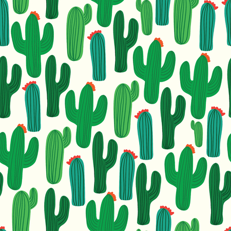 cactus flower: Cactus seamless pattern vector background
