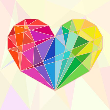colorful heart: Low-poly colorful heart