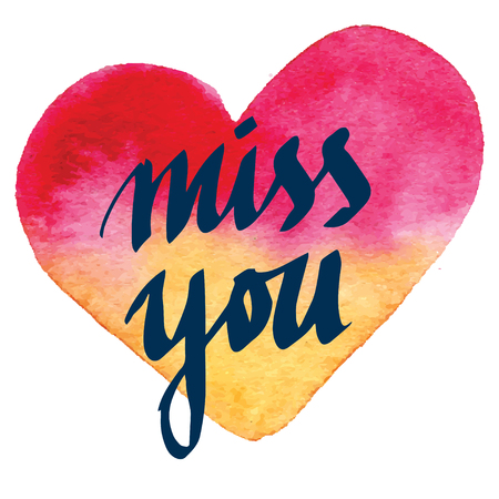 miss you: Modern calligraphy pen lettering. Vector card or poster design with unique typography. Hand written calligraphy. Detailed vector miss you, Valentines day