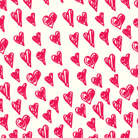 fiancee: Vector hand-drawn pink and white hearts seamless pattern for Valentines day