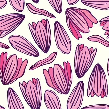 magnolia: Flower magnolia seamless pattern background vector. Floral textile pattern.