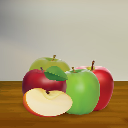 Set Of Four Realistic Fresh Apple Fruit With Wood Background