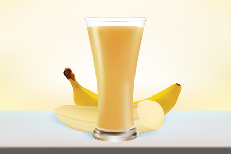 Slice of Banana with realistic Banana fresh Juice