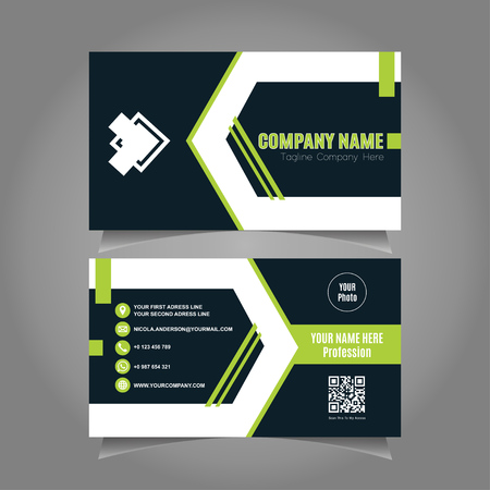 Elegant Business Card Template with Black dan Green Background