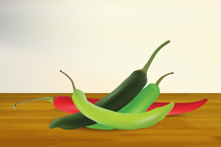 Hot Chilli Realistic Vector with Wood Background