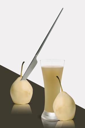 Realictic Vector Healthy Fresh Pear Juice Ilustração
