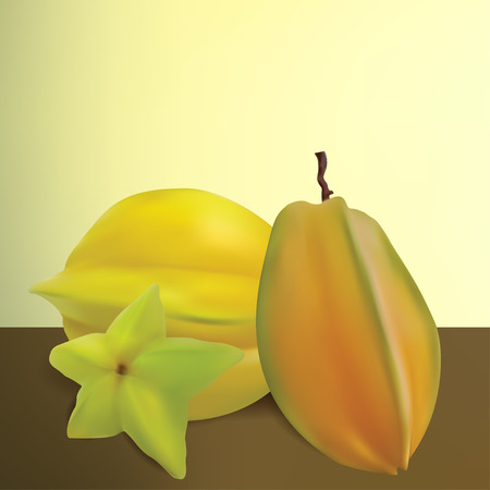 Realistic Vector Star Fruit With Classic Background