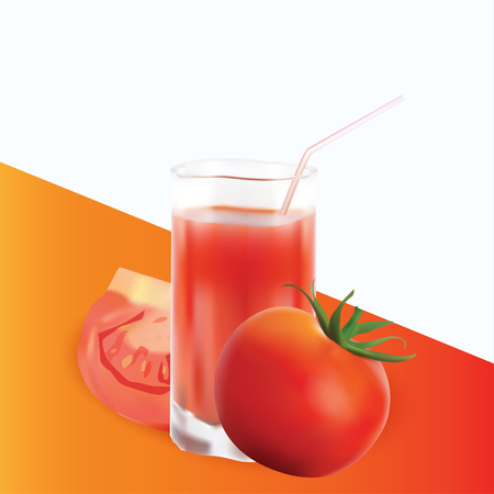 Realistic Set Of Red Tomato and Juice Vector Design