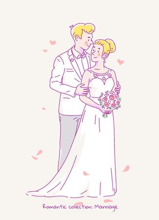 젊은 흰 의상 및 신부 웨딩 드레스와 꽃에서 신랑 신랑. 벡터 일러스트 레이 션.