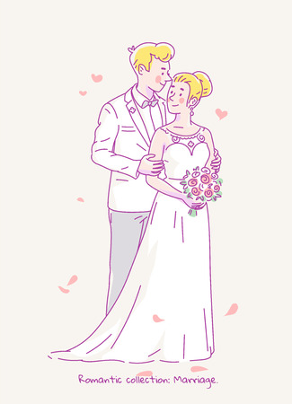 Young groom in white costume and bride in wedding dress and flowers get married. Vector line illustration. Çizim