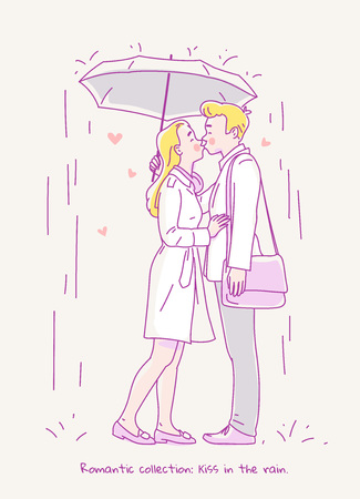 Young couple in love kissing in the rain under an umbrella. Line vector illustration