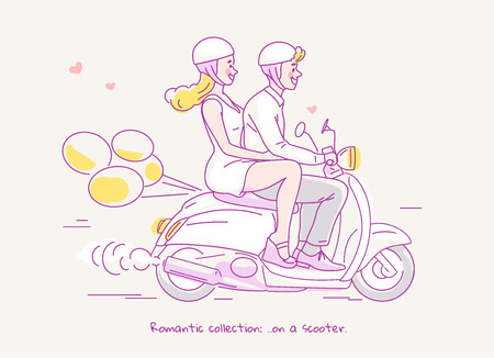Young couple traveling on scooter with balloons behind. Line vector illustration Ilustração