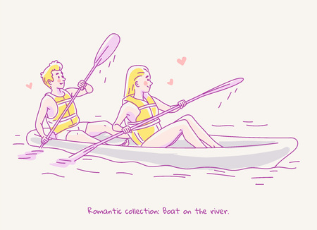 Young couple in love traveling in a boat canoe on the river. Line vector illustration