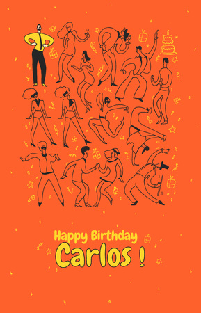 Personal greeting card party dance people. Line vector illustration set happy birthday. Imagens - 95152487