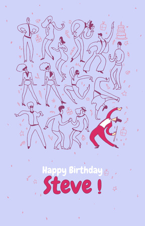 Personal greeting card party dance people. Line vector illustration set happy birthday. Imagens - 95152484