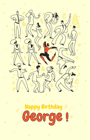 Birthday greeting card with people dancing on yellow background. Vector illustration.