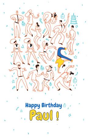 Personal greeting card party dance people. Line vector illustration set, happy birthday. Illusztráció
