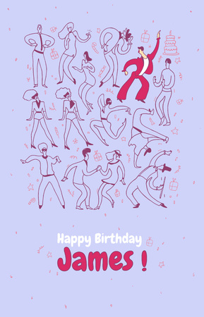 Personal greeting card. Party dance people. Line vector illustration set. Happy birthday