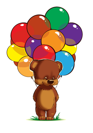 Teddy bear with multicolored balloons on