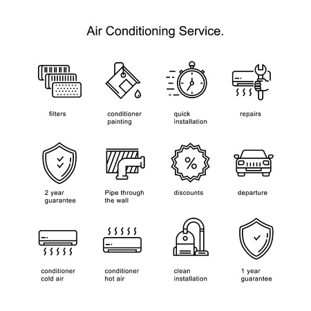Air conditioner service. Line icons two pixels stroke. Imagens - 95019823