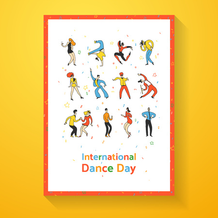 International dance day poster. Party dance people. Doodle line vector illustration