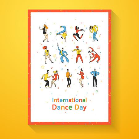 International dance day poster. Party dance people. Doodle line vector illustration Imagens - 95019821