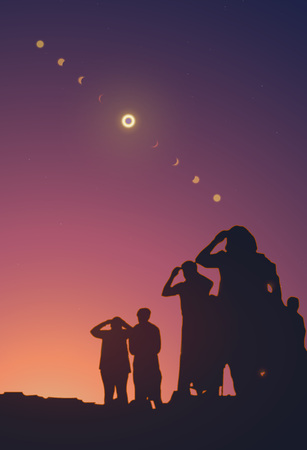 People are watching a solar eclipse in the sky with stars. Horizontal realistic vector illustration. Ilustração