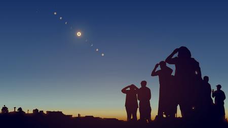 人々は星で空に日食を見ています。リアルなベクトルのイラスト。