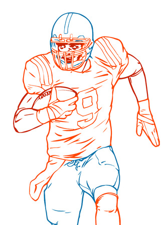 american football player running with the ball in his hands. Vector line illustration Illustration