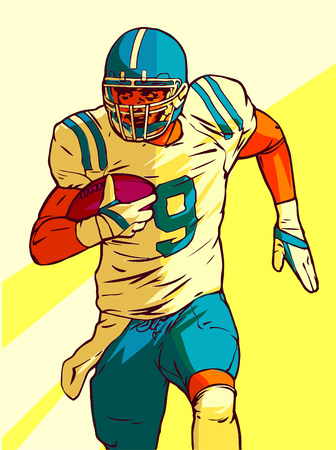 american football player running with the ball in his hands. Vector illustration Ilustração