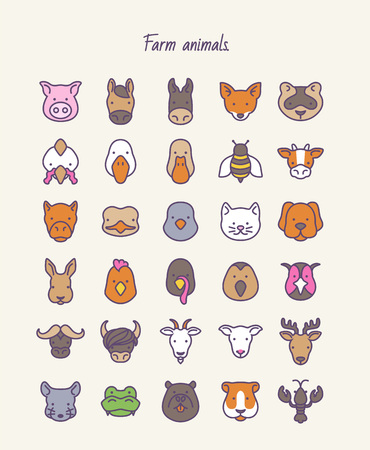 Farm animals. Outline vector set icons.  イラスト・ベクター素材