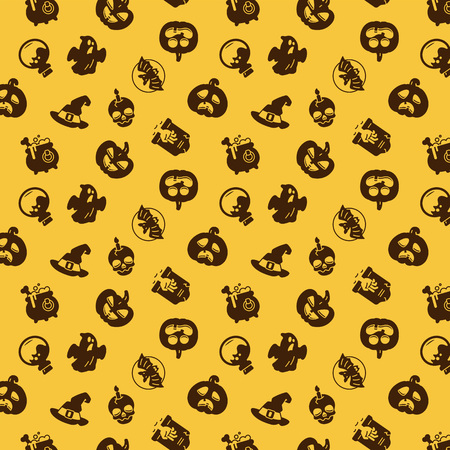 Helloween pattern. Holiday pictograms of pumpkin, ghost, magic hat, pot, potion, skull, zombie.