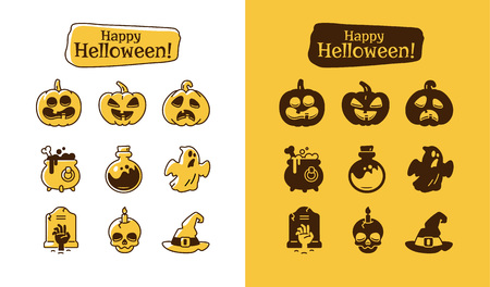 Set of halloween icons. Holiday pictograms collection of pumpkin, ghost, magic hat, pot, potion, skull, zombie. Ilustração