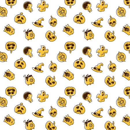 Helloween pattern. Holiday pictograms of pumpkin, ghost, magic hat, pot, potion, skull, zombie. Imagens - 95018347