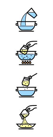 Cooking instructions. Manual for cooking porridge in package. Line vector infographic.