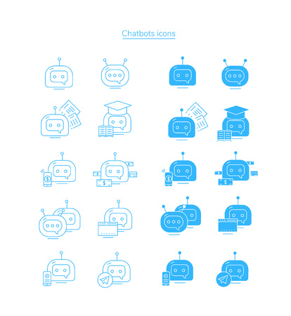 Chatbot icons. Vector stroke icon set.