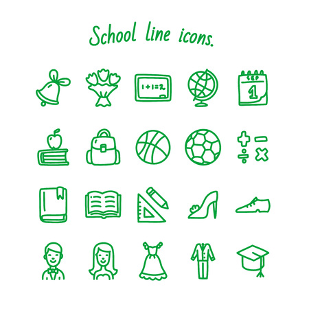 School line icons set green Vector illustration on white background. Ilustração