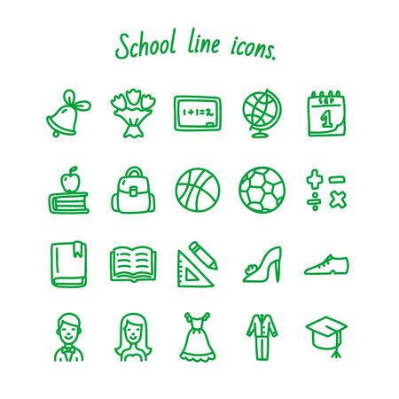School line icons set green Vector illustration on white background. Illusztráció