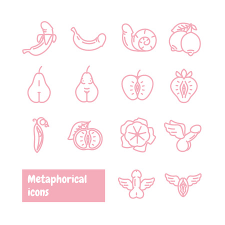 Metaphorical icons set. Fruits and vegetables metaphor. Vector icons.