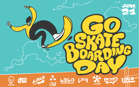 Go skateboarding day. Boy jumping on skateboard. Poster design illustration. Imagens - 95956939