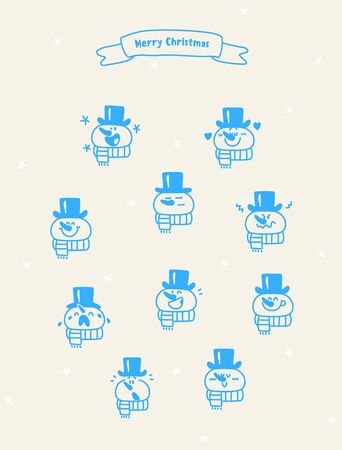 Christmas emotions snowman icon set. Imagens - 95964807