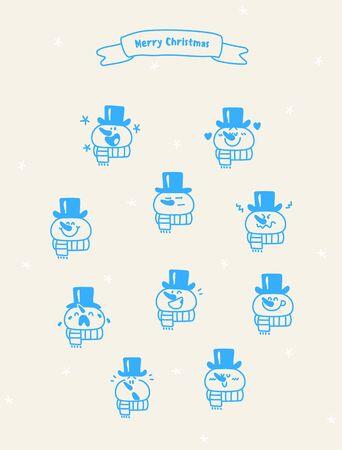Christmas emotions snowman icon set.