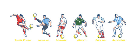 Soccer players kicks the ball. Soccer world cup teams South Korea, Uruguay, Denmark, Mexico, England, Argentina. Colorful vector illustration Ilustração
