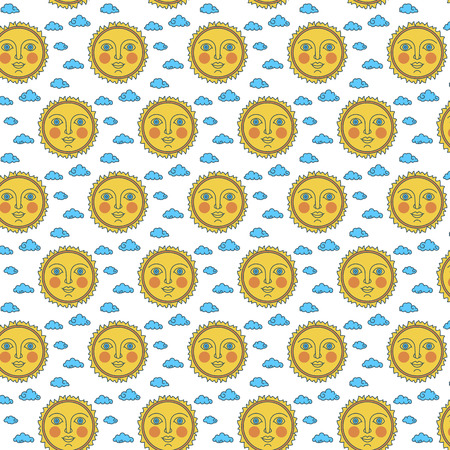 Sun with face on background of clouds. Pattern line flat vector illustration. Childrens doodle textile style. Vettoriali