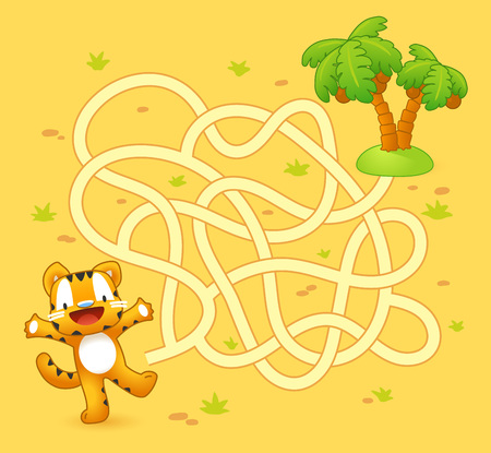 Help tiger cub find path to palm. Labyrinth. Maze game for kids Ilustração