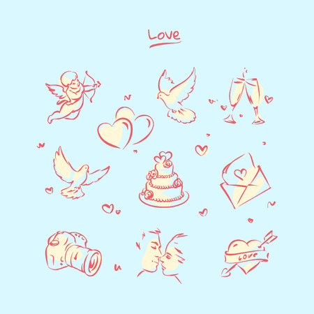 Wedding and valentines day icon set. Ink style vector illustration.