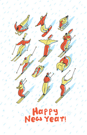 Creative greeting card for New Year. Skiing people in winter on a tubing, snowboard, ski, sleigh. Line vector illustration. Vettoriali