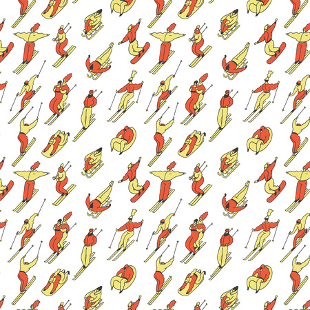 Pattern skiing people in winter on a tubing, snowboard, ski, sleigh. Colored vector illustration on white background Illusztráció