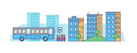 People waiting for the tourist bus on city background. Flat vector illustration. Vettoriali