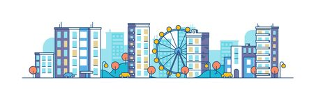 Color city landscape with the ferris wheel on winter background. Panoramic vector flat illustration